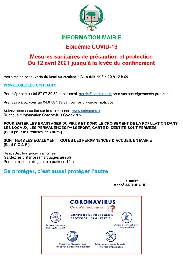 affiche restrictions covid mairie st pons de thomieres page small